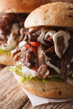 Sandwich Pulled pork with vegetables and sauce macro. Vertical Stock Photos
