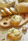 Sandwich with rabbit meat, garlic and sage Royalty Free Stock Photos