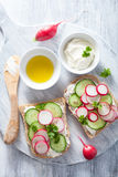 Sandwich with radish cucumber and cream cheese Stock Photos