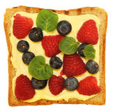 Sandwich with raspberry and blueberry Stock Images