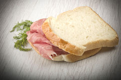 Sandwich with raw ham leg sliced Stock Photography