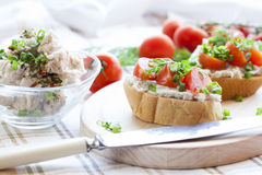 Sandwich with raw tomatoes for breakfast Stock Photo