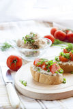 Sandwich with raw tomatoes for breakfast Royalty Free Stock Images