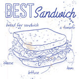 Sandwich recipe on a notebook page. Vector illustration, EPS 10 Royalty Free Stock Image