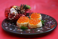Sandwich with red caviar. Christmas still life Stock Photo