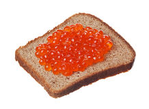 Sandwich with red caviar. On white background Stock Photos