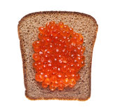 Sandwich with red caviar. On white background Royalty Free Stock Image
