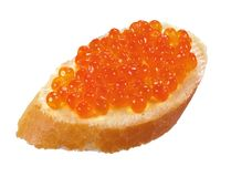 Sandwich with red caviar Stock Photo