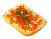 Sandwich with red caviar with a sprig of dill Royalty Free Stock Photos