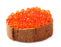 Sandwich with red caviar. Stock Photography