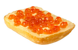 Sandwich with red caviar on white background Royalty Free Stock Images