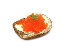 Sandwich with red caviar Royalty Free Stock Images