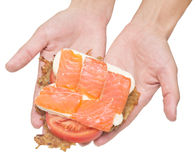 Sandwich with red fish Stock Photo