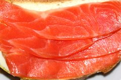 Sandwich with red fish trout Royalty Free Stock Images