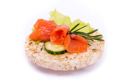 Sandwich with red fish and vegetables Royalty Free Stock Image