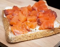 sandwiche with red fish Royalty Free Stock Images