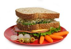 Sandwich on red plate Stock Photography