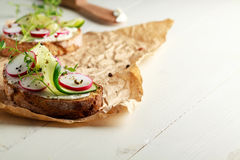 Sandwich with red radish, cucumber and fresh herbs. And pepper Royalty Free Stock Image