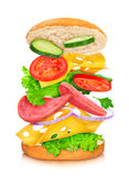 Sandwich with reflection and falling ingredients. On a white background royalty free stock image