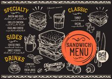 Sandwich menu restaurant, food template. Sandwich restaurant menu. Vector food flyer for bar and cafe. Design template with vintage hand-drawn illustrations Stock Images