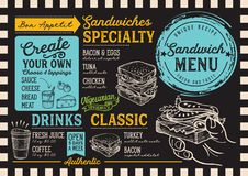 Sandwich menu restaurant, food template. Sandwich restaurant menu. Vector food flyer for bar and cafe. Design template with vintage hand-drawn illustrations stock illustration