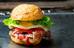 Sandwich with roast beef and vegetables Stock Images