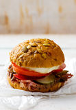 Sandwich with roast beef and vegetables Royalty Free Stock Images