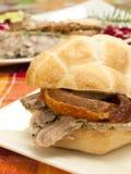 Sandwich with roast pork. Crisp sandwich with roast pork Stock Photography