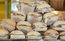 Sandwich with roast pork for sale in the bar Stock Images