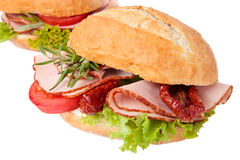 Sandwich with roasted chicken Royalty Free Stock Images