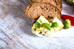 Sandwich with Roquefort cheese and dark bread Royalty Free Stock Photos