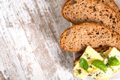 Sandwich with Roquefort cheese and dark bread Stock Images