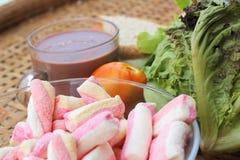 Sandwich rose à chocolat chaud et à thon de guimauves Images stock