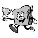 Sandwich Running with Trophy Illustration Royalty Free Stock Photos