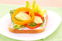 Sandwich with rusk and vegetables Stock Photos