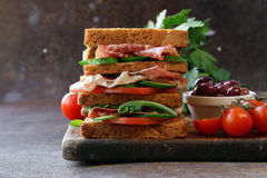 Sandwich of rye bread with ham Royalty Free Stock Images