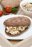 Sandwich of rye bread with tuna and homemade cheese Royalty Free Stock Photography
