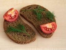 Sandwich rye bread. Rye bread sandwich with vegetables Stock Image