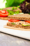 Sandwich with rye brown bread, ripe tomatoes, cucumbers and tuna fish Royalty Free Stock Images