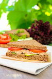 Sandwich with rye brown bread, ripe tomatoes, cucumbers and tuna fish for healthy snack Stock Photography