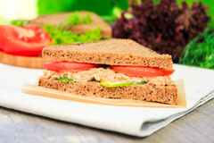 Sandwich with rye brown bread, ripe tomatoes, cucumbers and tuna fish Stock Images