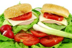 Sandwich and salad Stock Photos