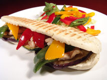 Sandwich&Salad. Sandwich made of grilled turkey and vegetables served with fresh salad stock photos