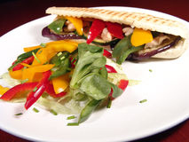 Sandwich&Salad. Sandwich made of grilled turkey and vegetables served with fresh salad royalty free stock photo