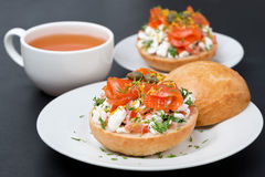 Sandwich with salad of cottage cheese, tomato and salmon Royalty Free Stock Image
