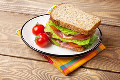 Sandwich with salad, ham, cheese and tomatoes Stock Photos