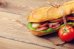 Sandwich with salad, ham, cheese and tomatoes Stock Photography