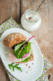 Sandwich with salad herbs chicken ham red onion seeds Royalty Free Stock Photos