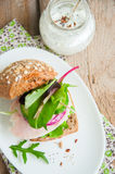 Sandwich with salad herbs chicken ham red onion seeds Royalty Free Stock Image