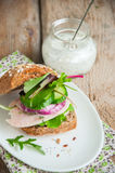 Sandwich with salad herbs chicken ham red onion seeds Royalty Free Stock Photography